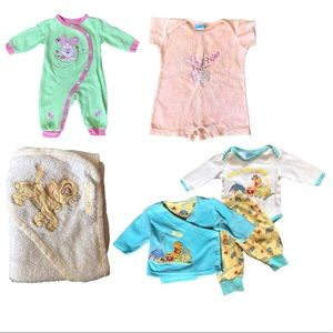 Disney 3 Months 6 Peice Baby Clothing & Towel Lot